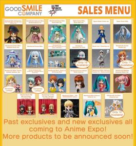 GSC's sales menu with lots of past exclusives!