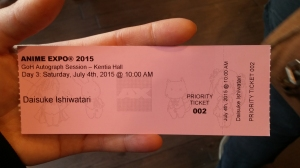 Ishiwatari autograph ticket GET!!