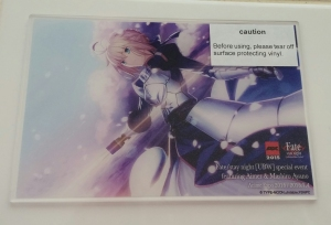 The acrylic Fate/Stay Night artwork given to us at the event!