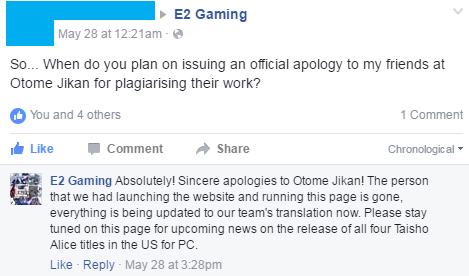 apology when